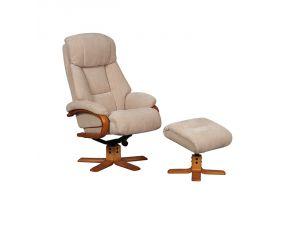 Nice Dune Fabric Swivel Recliner Chair and Footstool