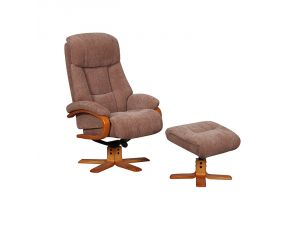 Nice Fawn Fabric Swivel Recliner Chair and Footstool