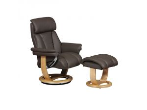 Portofino Charcoal Leather Swivel Recliner Chair and Footstool