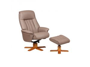 St Tropez Earth Leather Swivel Recliner Chair and Footstool