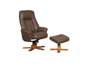 St Tropez Truffle Leather Swivel Recliner Chair and Footstool