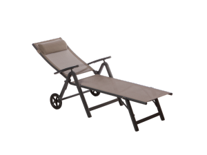 Royalcraft Sorrento Taupe Folding Sun Lounger with Wheels