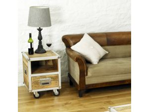 Roadie Chic Lamp Table / Bedside Table with one drawer