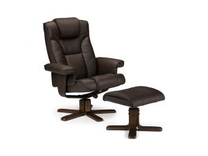 Julian Bowen Malmo Brown Leather Recliner Chair + Stool
