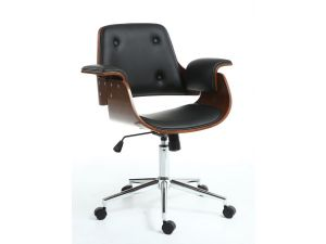 Shankar Kato Black Faux Leather Office Chair