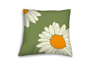 Leisuregrow Casual Green Country Daisies Scatter Cushion