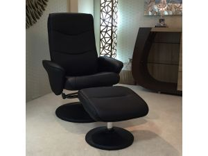 Fairmont Lyon Leather Massage and Heat Swivel Recliner Chair with Footstool