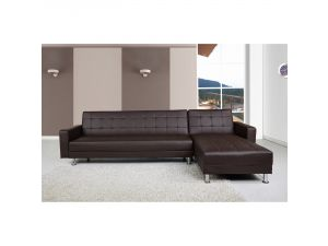 Spencer Brown Faux Leather Corner Sofa Bed with Interchanging Chaise