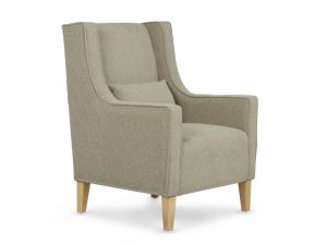 Serene Leven Sage Fabric Occasional Chair With Footsool