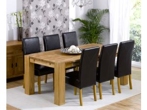 Madrid 200cm Solid Oak Extending Dining Table + 6 Rustique Leather Chairs