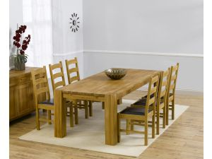Madrid 240cm Solid Oak Extending Dining Table + 6 Valencia Leather Chairs