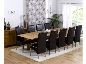 Madrid 240cm Solid Oak Extending Dining Table + 10 Roma Chair Dining Set