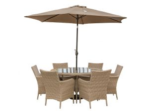 Leisuregrow Monaco Natural Rattan 6 Seat Dining Set With Soleil Parasol