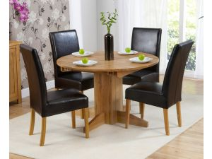 Monte Carlo Solid Oak Extending Dining Table + 4 Rustique Slatted Chairs