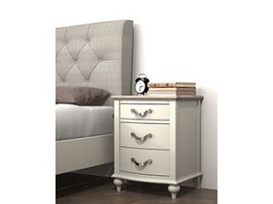 Bentley Designs Montreux Grey Washed Oak And Soft Grey 3 Drawer Nightstand