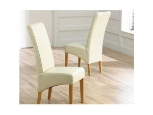 Verona Dining Chairs in Ivory White Leather With Dark Brown Legs - Pair