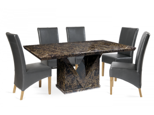 Minsk 160cm Brown Marble Effect Dining Table with Roma Chairs