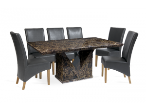 Minsk 220cm Brown Marble Effect Dining Table with Roma Chairs