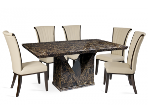 Minsk 220cm Brown Marble Effect Dining Table with Almeria Chairs