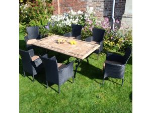 Europa Monte Carlo Standard Table Set With 6 Stockholm Black Chairs