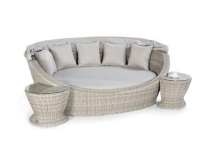 Maze Oxford Grey Rattan Daybed With Side Tables