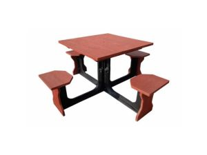 Small 4 Seat Grey Square Picnic Table