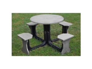 Small 4 Seat Grey Round Picnic Table
