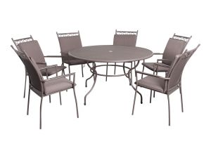 Leisuregrow Richmond 6 Seat Round Dining Set with Highback Armchairs