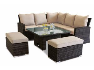 Maze Richmond Brown Rattan Corner Bench Set With Rising Table
