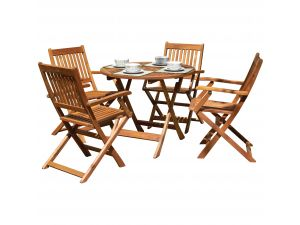 Royalcraft Manhattan 4 Seater Dining Set With Manhattan Folding Armchairs