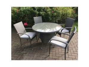 Royalcraft Marlow 4 Seater Stacking Rattan Dining Set Incl. Cushions