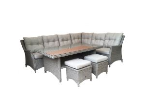 Leisuregrow Saigon Natural Rattan Rectangular Modular Dining Set