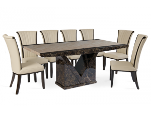 Toledo 220cm Brown and Cream Marble Effect Dining Table with Almeria Cream Chairs