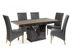 Toledo 220cm Brown and Cream Marble Effect Dining Table with Roma Chairs