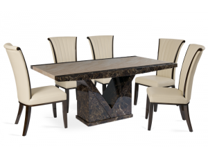 Toledo 180cm Brown and Cream Marble Effect Dining Table with Almeria Cream Chairs