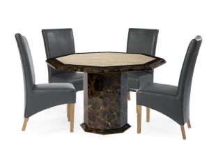 Toledo 120cm Brown and Cream Octagonal Marble Effect Dining Table with 4 Roma Chairs