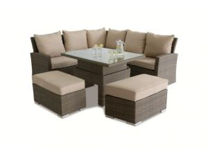Maze Tuscany Brown Rattan Corner Bench Set With Rising Table