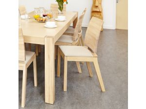 Olten Uno Ivory Dining Chair in Light Oak Finish (Pack Of Two)