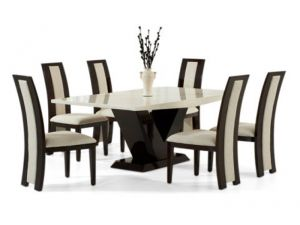 Valencie 180cm Cream and Brown Constituted Marble Dining Table with Rivilino Black Chairs