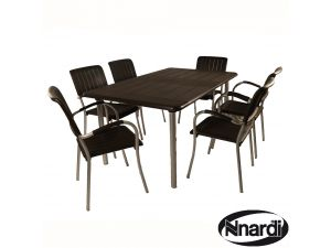 Europa Maestrale 220 Coffee Dining Table With 6 Musa Chairs Set