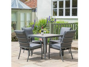 Leisuregrow Milan Grey Aluminium 4 Seat Set With Cushioned Armchairs