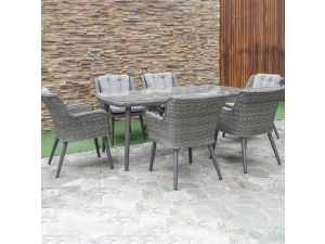 Maze Florence Grey Rattan 6 Seat Rectangular Dining Set