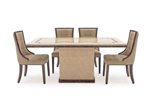 Alfredo 160cm Beige Marble Dining Table + Leather Chairs