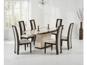 Alba 180cm Cream and Brown Constituted Marble Dining Table with Rivilino Chairs