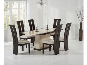 Alba 180cm Cream and Brown Constituted Marble Dining Table with Valencie Chairs