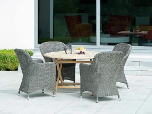 Alexander Rose Monte Carlo 4 Seat Closed Weave Armchair Set with Roble Bengal Dining Table