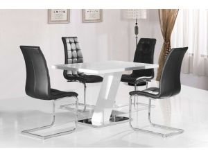 Aliyah White Gloss Dining Table With Enzo Leather Chairs