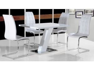 Aliyah White Gloss Dining Table With 4 Enzo White Leather Chairs