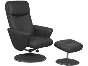 Alizza Black Faux Leather Recliner Chair With Footstool