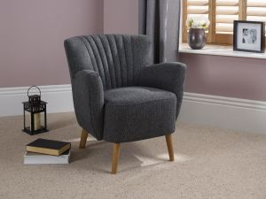 Serene Alloa Charcoal Occasional Chair With Oak Legs